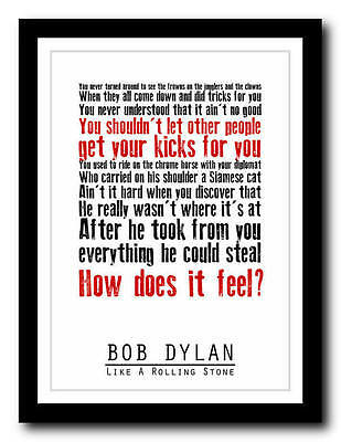 BOB DYLAN - Like A Rolling Stone - lyric poster art typography print - 4 sizes