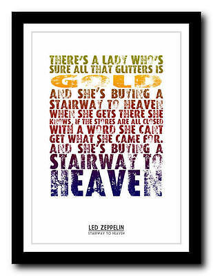 LED ZEPPELIN - Stairway To Heaven - lyric poster art typography print - 4 sizes