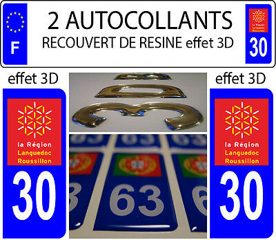 2 stickers plaque immatriculation auto DOMING 3D RESINE LANGUEDOC ROUSSILLON °30