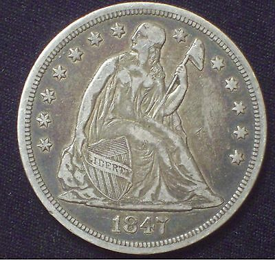 1847 Seated Liberty SILVER Dollar XF Pre-Civil War US Coin *PRICED TO SELL* $1