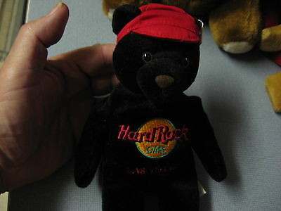"Hard Rock Cafe Collector Teddy Bear 9"" Black With Red Cap Las Vegas"