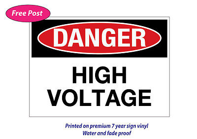 Danger high voltage sticker water&fade proof safety oh&s 7 year vinyl