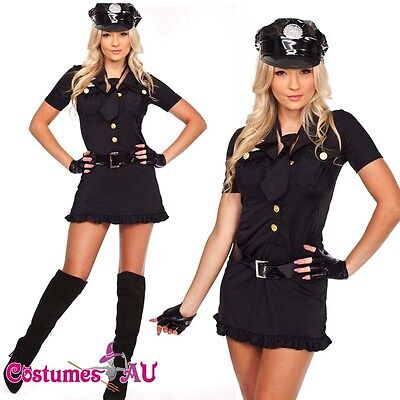 New Ladies Woman Black Cop Police Uniform Party Fancy Dress Costume Outfit