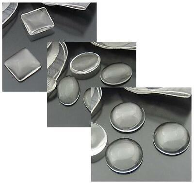 Clear Glass Domed Cabochons Round Oval Square  Size Choice Top Quality