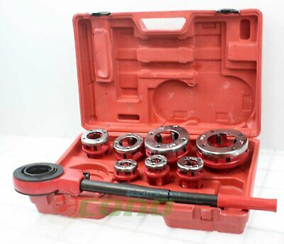 Large Hand Die Ratcheting Pipe Thread Threader Tool Ratchet Threading Kit Set