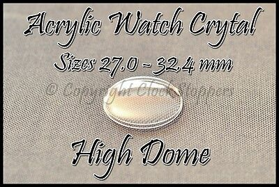 Round Watch Glass 270-324 mm Crystal Acrylic Plastic Wristwatch Replacement Dome