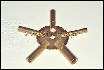 Clock Winding Key Brass Even Sizes Star Spider Bench 4 6 8 10 12 Winder 5 Prong