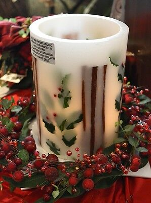Holly Berry & Cinnamon Large Round Wax Candle Lantern, Christmas, Holiday