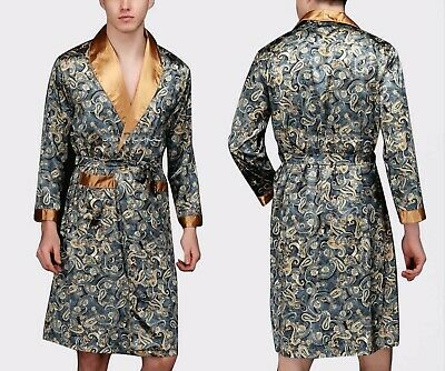 Mens Satin Silk Pajamas Kimono Robe Gown Loungewear US S to  5XL