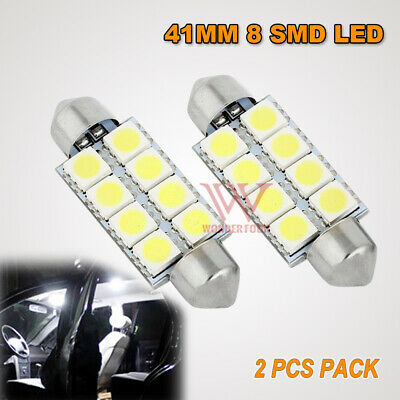 2PCS 41MM 5050 SMD WHITE 8 LED WORK BULB GLOBE LIGHT LAMP DC12V SUPER BRIGHT t10