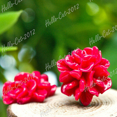 RESIN CABOCHONS 10X 15X15MM FLATBACK VINTAGE FLOWERS CAMEO RED RB591-2