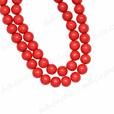 200PCS GLASS PEARL BEADS CORAL RED 4MM F BRACELECT NECKLACE GP0001-10