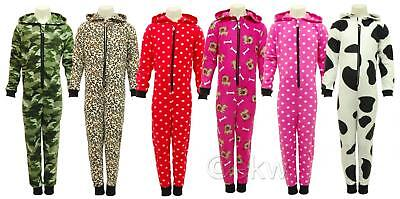 Kids Boys Girls Onezee All In One Hooded Jumpsuit - Animal Pyjama Party - E09
