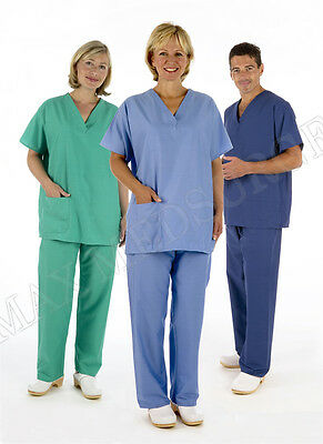 Medical Reversible Scrub TUNIC & TROUSER Set, Unisex NHS Compliant Hospital Suit