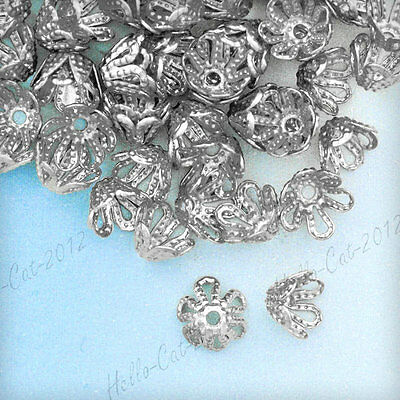 About 160Pcs Diy Flower Iron Bead Caps Nickel Plated Cheaper Bc0082