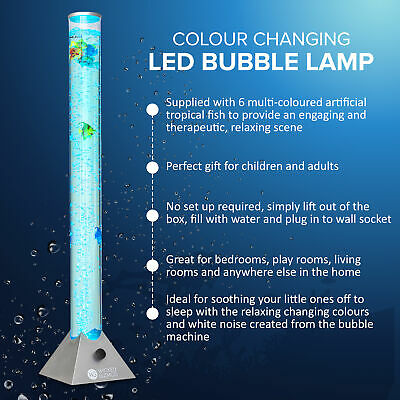 Wicked Gizmos Bubble Tower Floor Lamp Colour Changing Led Water Sensory Mood Fis