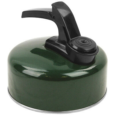 Highlander Small 1 Litre Aluminium Whistling Kettle Camping Fishing Hiking Green