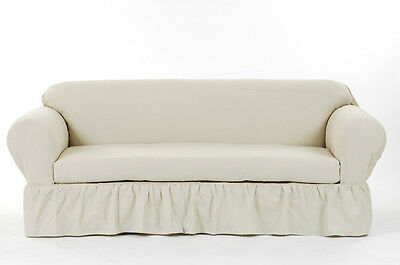 Cotton Duck Ruffled Round Arm Sofa//Loveseat//Chair Slipcover AMY 3 COLORS