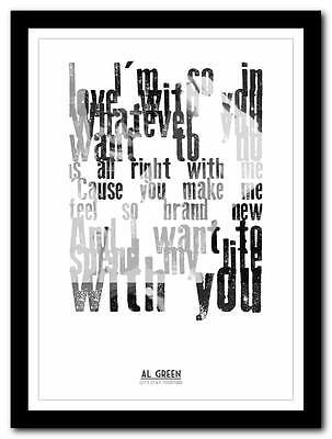 Al Green - Lets Stay Together - song lyric poster typography art print - 4 sizes