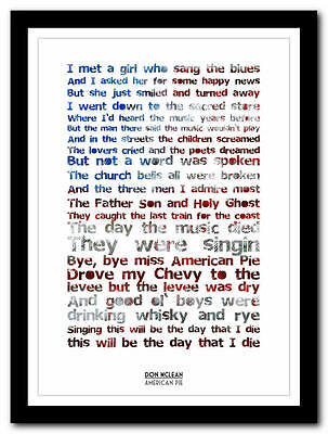 Don McLean - American Pie - song lyric poster typography art print - 4 sizes
