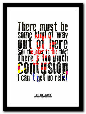 Jimi Hendrix - All Along The Watchtower - song lyric poster art print - 4 sizes