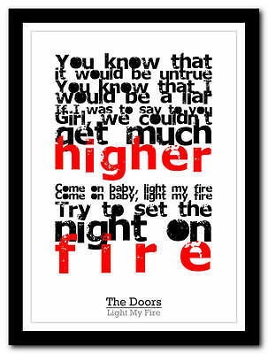 THE DOORS - Jim morrison - song lyric poster typography art print - 4 sizes