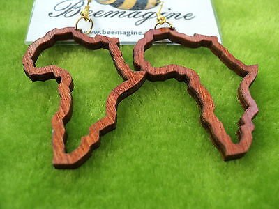 Beautiful laser cut wooden earrings Africa outline, African map in red mahogany