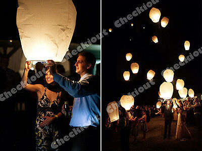 60x White Paper Chinese Lanterns Sky Fly Candle Lamp for Wishing Party Wedding