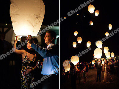 10x White Paper Chinese Lanterns Sky Fly Candle Lamp for Wishing Party Wedding