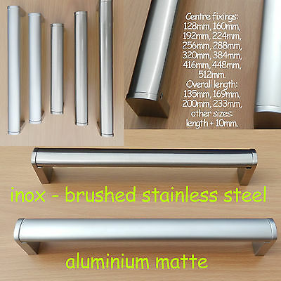Door Cupboard Wardrobe Cabinet Drawer Handles matte/inox brushed stainless steel