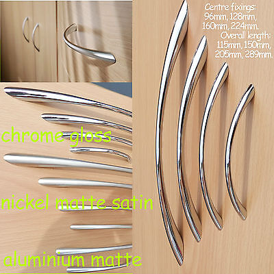 Kitchen Door Cupboard Cabinet Drawer Handles Bow Chrome/Nickel/matte/satin