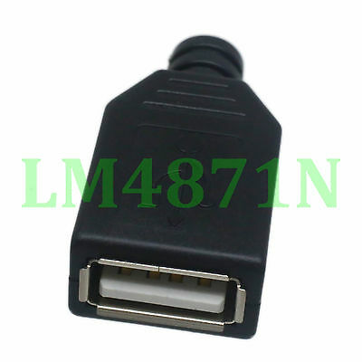 5pcs Connector USB A 2.0 female jack black Plastic Shell solder for cable