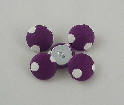 Fabric Covered Buttons - Purple with White - 2cm