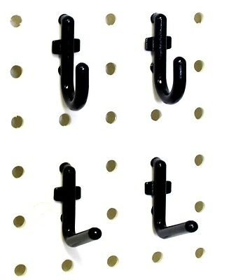 "100 Black Locking Plastic Peg Board Hooks 1/4"" in. Pegboard"