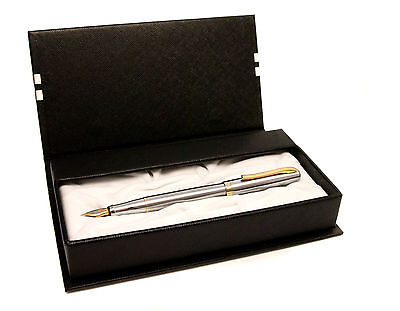 Personalised Gold & Silver Design Fountain Pen in Stylish Gift Box, Engraved