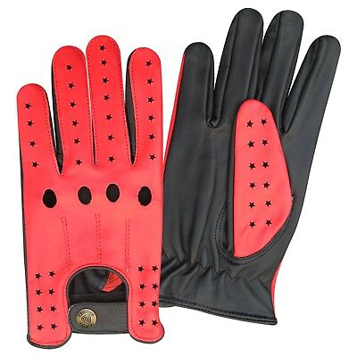 New prime top quality real soft leather men's driving gloves black/red stars 507