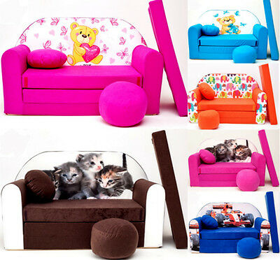 Kids Room Coach Sofa Bed Present + Pouffe + Small Pillow 50 Colours