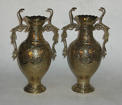 2Pc RARE Antique King of Siam Ornate Brass Colored Vase Urns Snake Handles (I3)