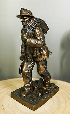 "Firefighter Fireman Rush To Rescue In Action Figurine 7.5"" Tall Hero Statue"