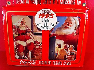 Coca Cola Playing Cards Collectible Tin 2 Deck Set Limited Edition Christmas Lot