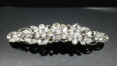 Exquisite Formal Wedding Clear Crystal Silver Hair Clip Barrette Comb Approx.7cm