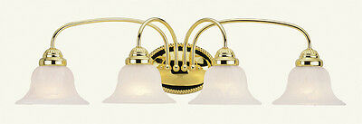 4 Light Livex Edgemont Polished Brass Bathroom Vanity Lighting Fixture 1534-02