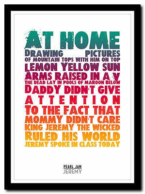 PEARL JAM - Jeremy - song lyric poster typography art print - 4 sizes