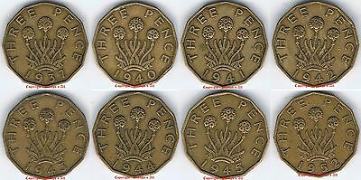 1937 to 1952 Brass Threepence singles or 10s Choose Date singles in coin wallets