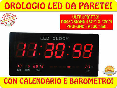 MD09* OROLOGIO DIGITALE DA PARETE MURO A LED 46cm X 22cm Ultrapiatto 30 mm
