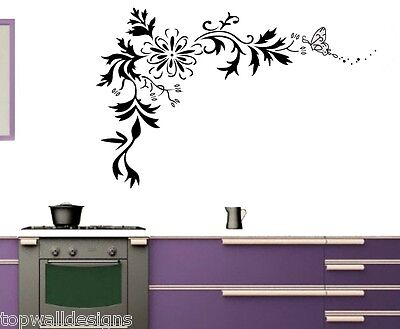 Flower Floral Butterfly Removable Home Decor Art Mural SL7032 Wall Sticker Decal