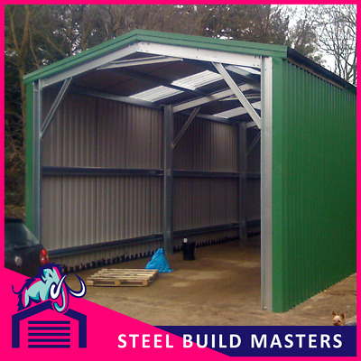 OPENED GABLE BUILDING BY STEEL BUILD MASTERS (4m W x 9m L x 3.6m H)