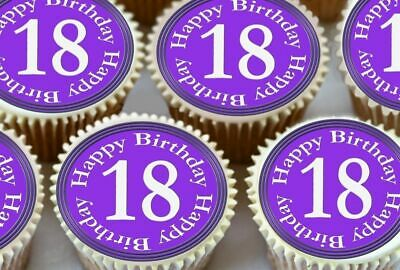 Baking Accs. & Cake Decorating Hot Sale 24 X Blue 18th Happy Birthday Edible Cupcake Toppers In Premium Rice Paper 1793