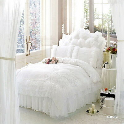 White King/Queen/Double Bed Lace Quilt Covers Set Pleated Valance/Bed Skirt