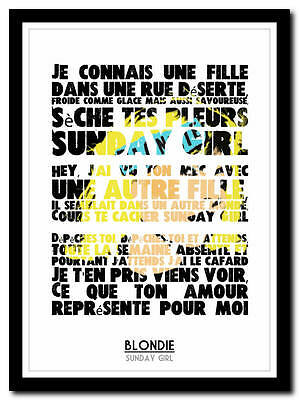 BLONDIE - Sunday Girl 2 - french francais poster typography art print - 4 sizes